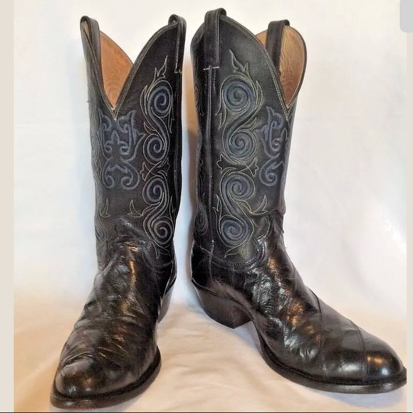 new style of 2019 replicas crazy price Justin Boots Men's Exotic EEL Skin Cowboy Boots